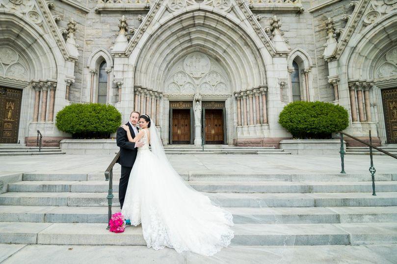 Bride & groom at church