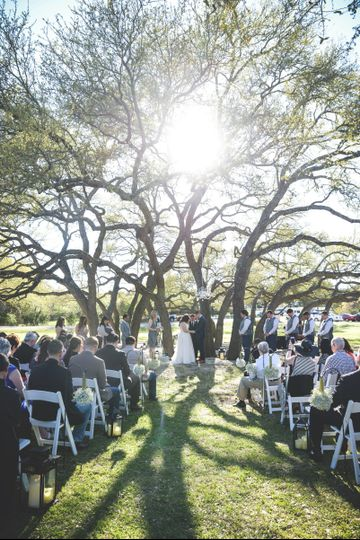 Outdoor ceremony on Texas ranch