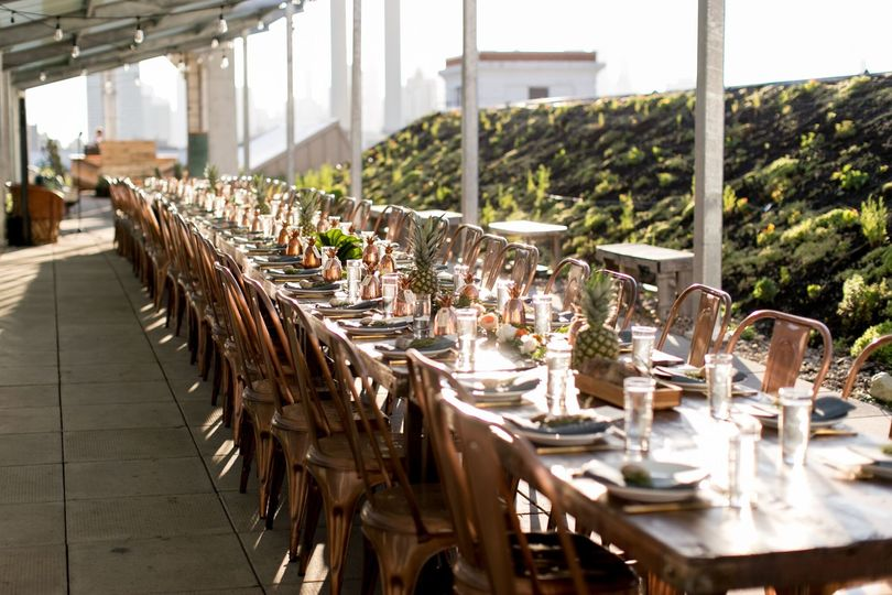 Long Tables at the Brooklyn Grange Rooftop Farm