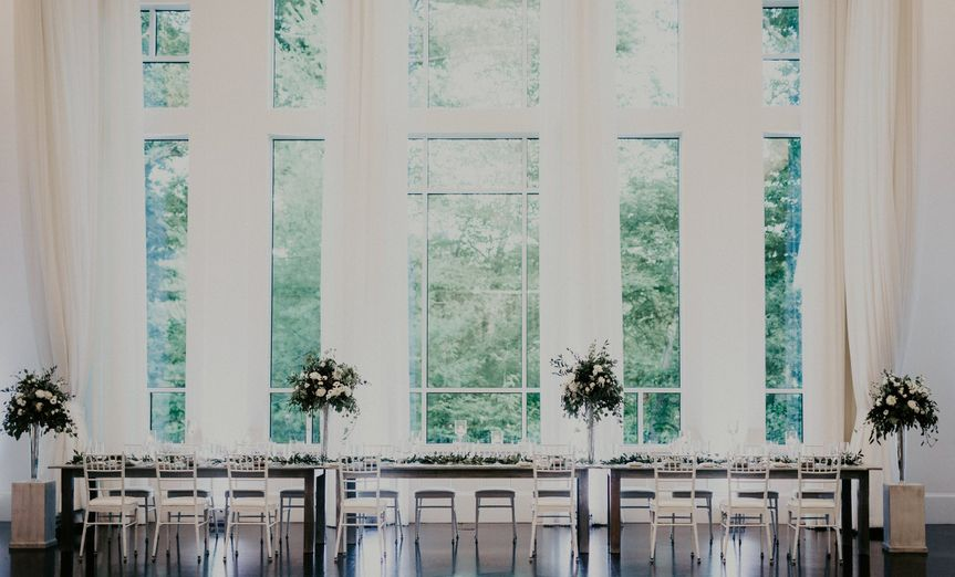 Long table with floral decorations