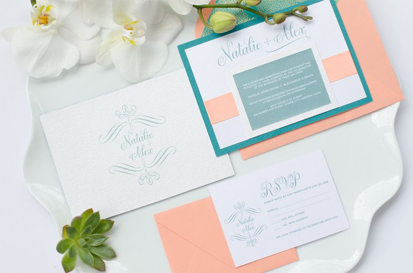 blissful coral teal gold wedding invitation suite1