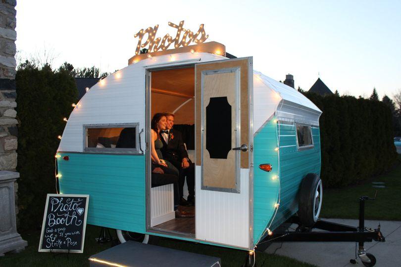 """Happy Camper"" vintage photo booth"