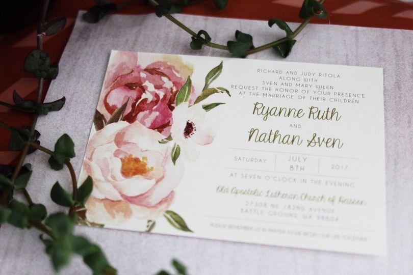 floral wedding invitation blush pink wedding invit