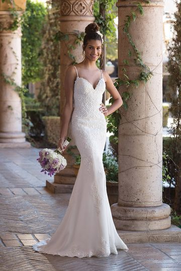 Sincerity Bridal	4002		Romance lives on in this crepe fit and flare gown with embroidered lace...