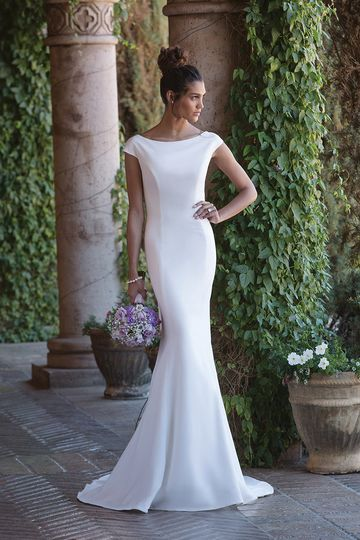 Sincerity Bridal4007Feel the romance in this Sabrina neckline crepe fit and flare gown. A...
