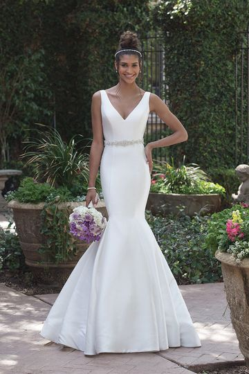 Sincerity Bridal4008Structured and graceful in this V-neckline Mikado fit and flare with a...