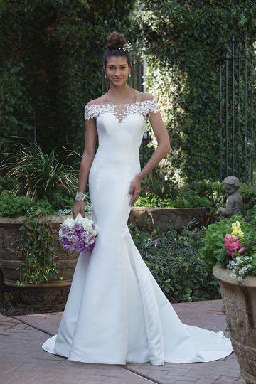 Sincerity Bridal4010Venice lace accents the illusion panels of this off the shoulder fit and...