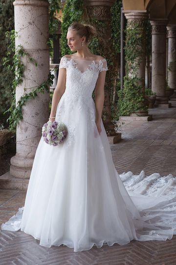 Sincerity Bridal4012Feel like Cinderella in this sweetheart illusion off the shoulder A-line...