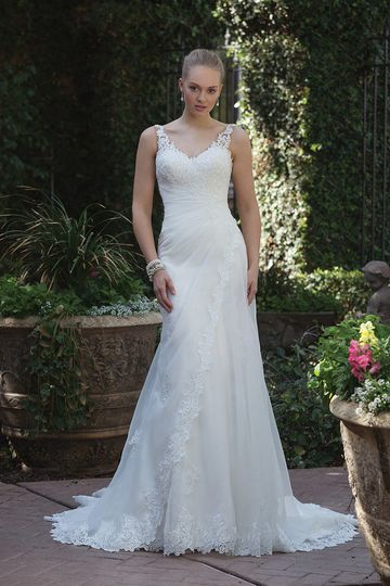 Sincerity Bridal4013Confident in classic beauty, this illusion strap sweetheart is pure...