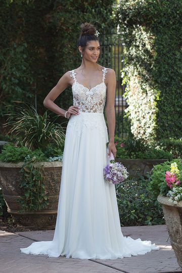 Sincerity Bridal4014Modern romance. The illusion bodice is accented with Venice lace, soft...
