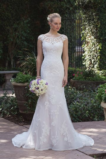 Sincerity Bridal4018Venice lace and appliques adorn this illusion Sabrina neckline and...