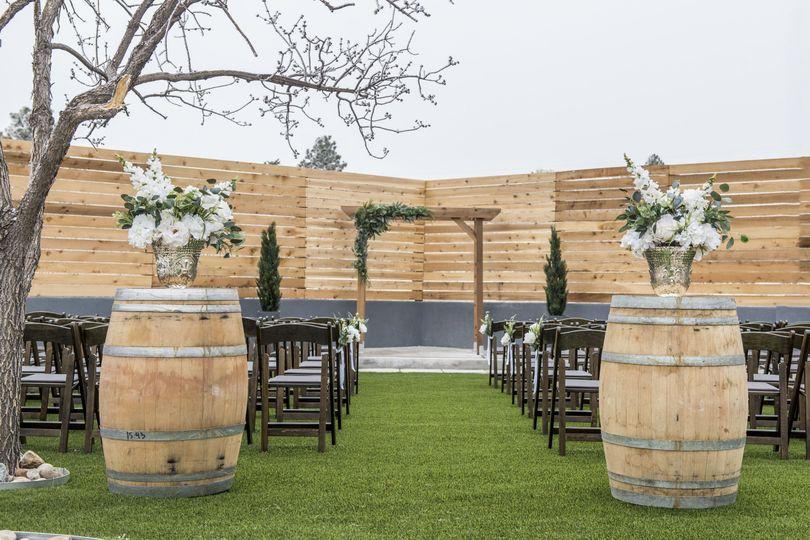 Our Courtyard ceremony site is lush, green, and seats up to 150 guests