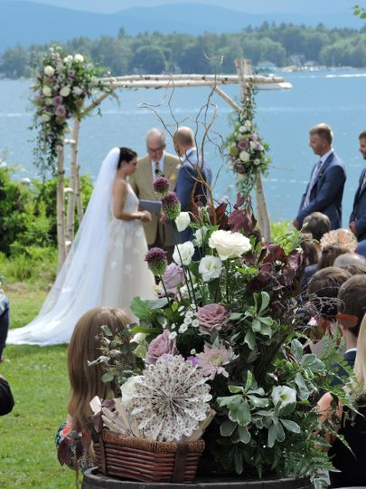 Lakeside love!  Ethereal, natural flowers decorated the ceremony space.