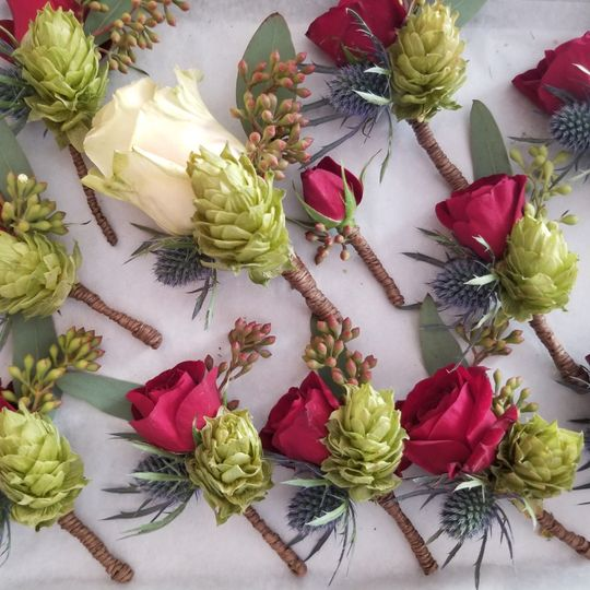 Hops and flower boutonnieres