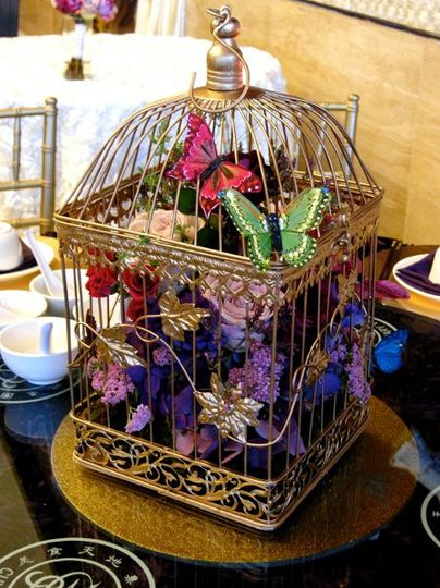Cage and flower centerpiece