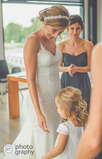 Bride and little girl