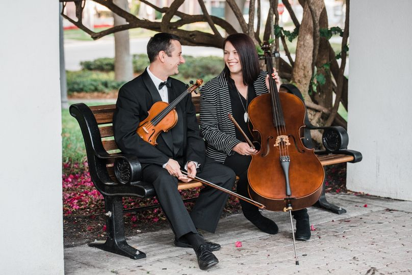String duo on the bench