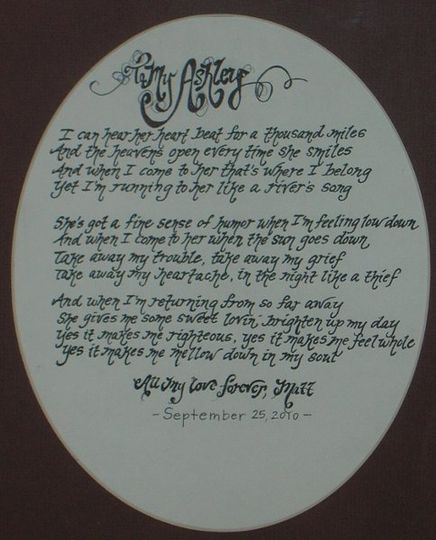 I worked with Matt to provide these song lyrics in a beautiful framed and matted script as a present...