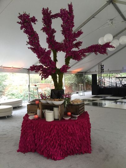 Floral tree made of fuchsia pink stock for classic/modern spring wedding