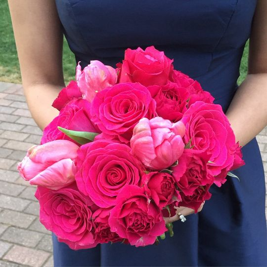 Bridesmaids bouquet for classic yet modern touch spring wedding with roses and tulips