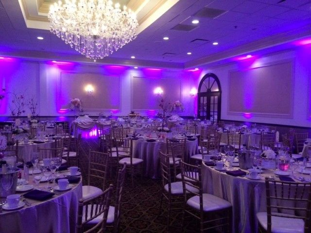 Reception venue with uplighting