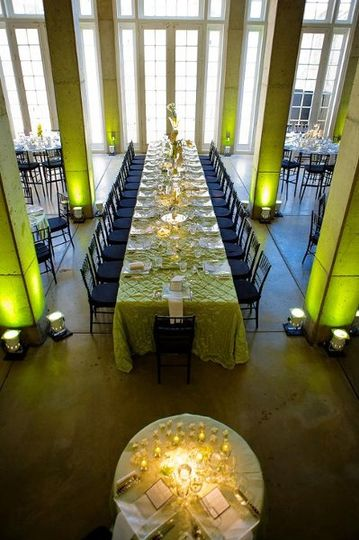 Halcyon House in Washington DC - modern green and black wedding reception