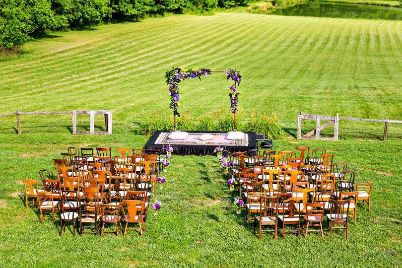 The Barns at Hamilton Station Vineyards in Virginia - outdoor fusion wedding ceremony