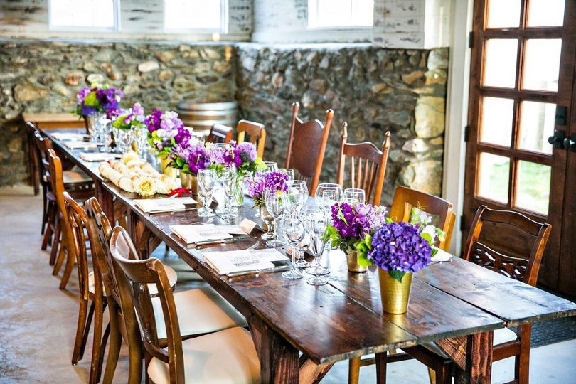 The Barns at Hamilton Station Vineyards in Virginia - rustic purple wedding reception