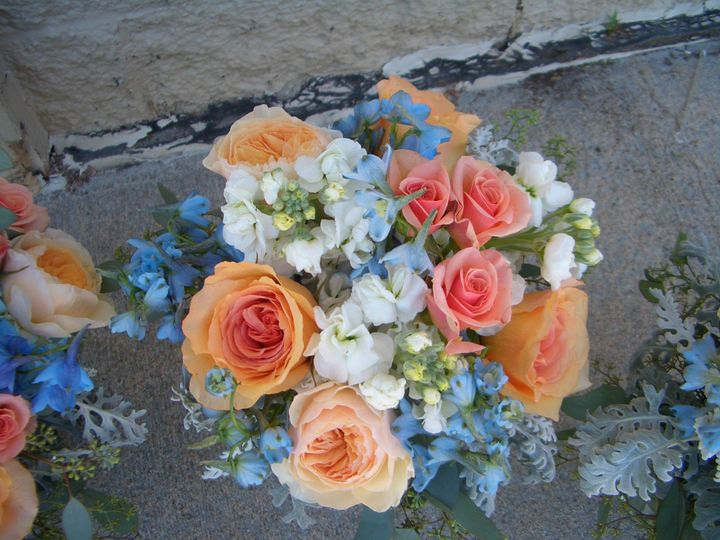 Peach, white, and blue flowers