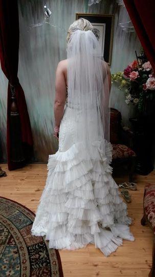 Ruffled skirt and veil