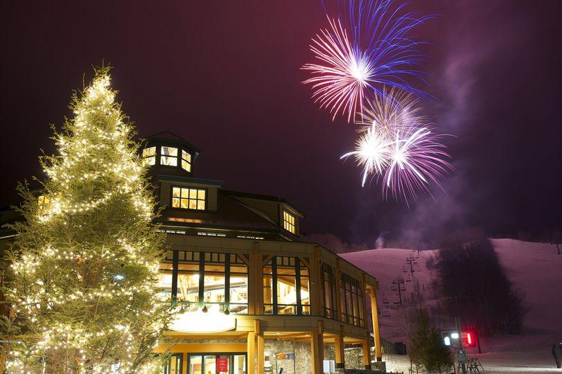 Christmas lights and fireworks