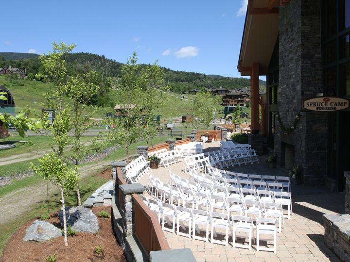 Tmx 1419009898135 Spruce Camp Patio Ceremony Stowe wedding venue