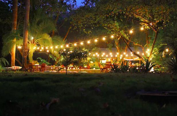 Wedding decor with luminaries on