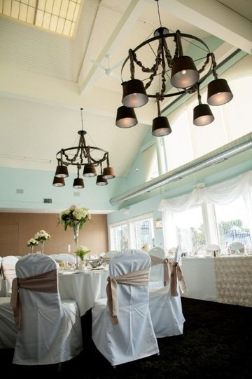 wedding set up with chair covers & specialty linens
