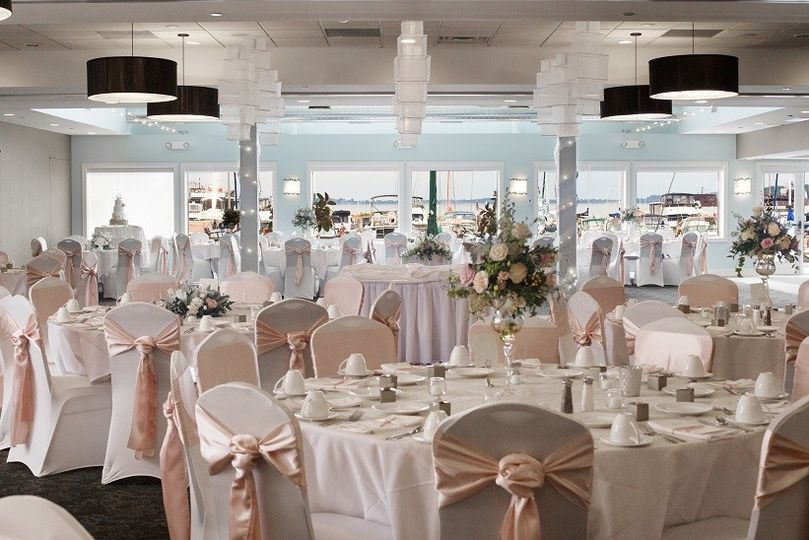 Lakeview ballroom with a wedding set up.