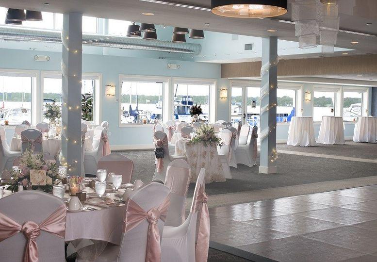 Lakeview ballroom set for a wedding.
