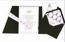 custom drawn invitation in thermography with pocketfold and custom ribbon and liner
