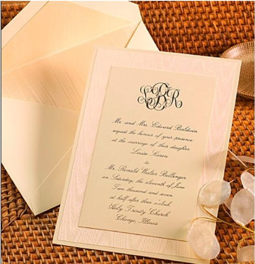 layered custom invitation in thermography or letterpress
