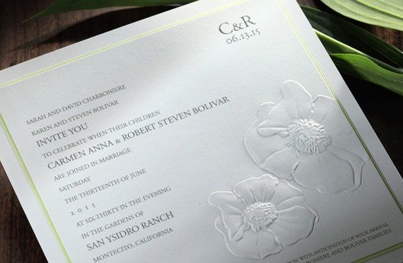 blind embossed flower on heavy stock in letterpress