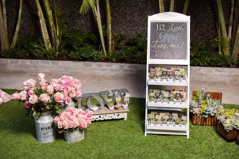 Flowers and sign board