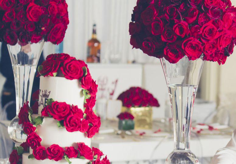 Roses and wedding cake