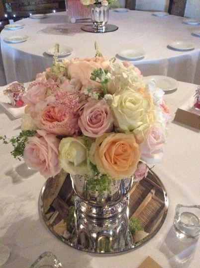 Soft assorted rose centerpiece