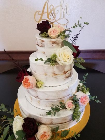 Semi Naked cake/accented with fresh flowers