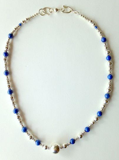 Necklace: solid Sterling Silver and Denim Lapis Lazuli  cfbjewelrydesigns.com