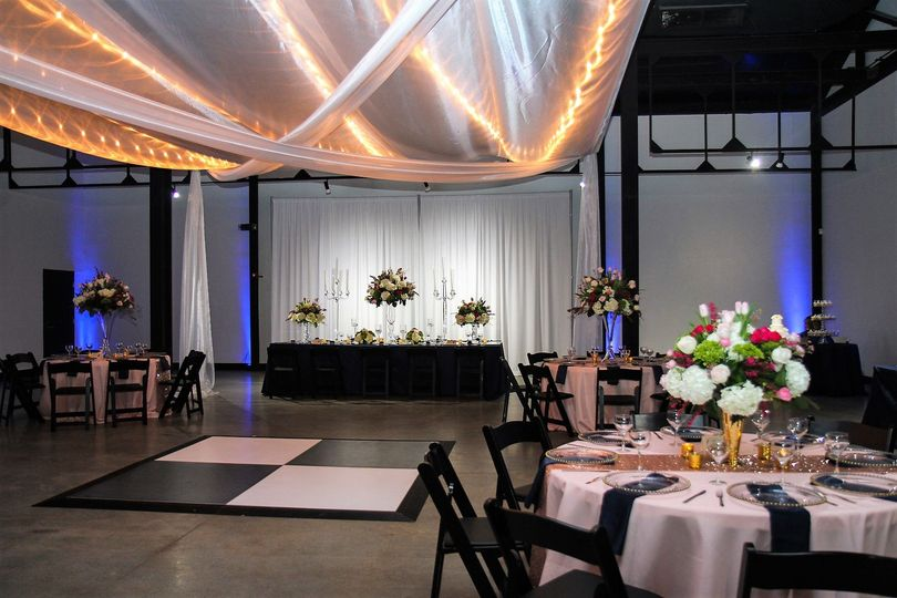 Reception table and floral centerpiece