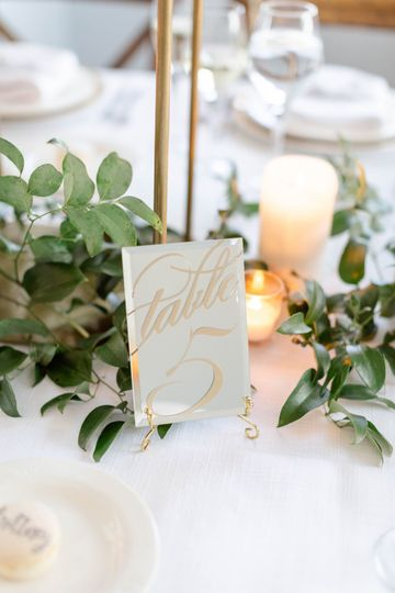 Mirrored table number