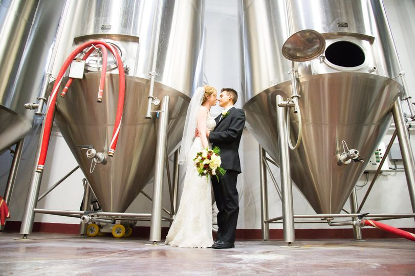 Newlyweds in the brewery
