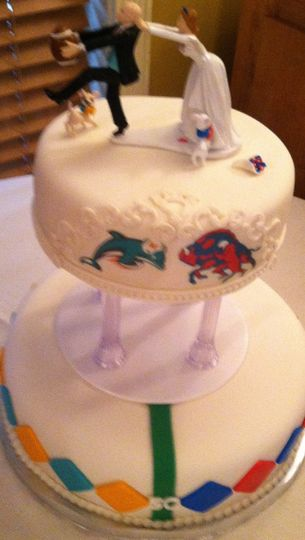 Football Rivalry Cake with butter cream finish
