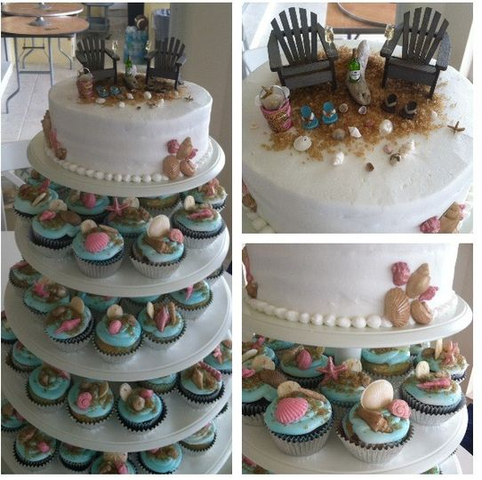 Beach Wedding Cupcakes, cake topped with beach chairs, candy shells top off each cupcake