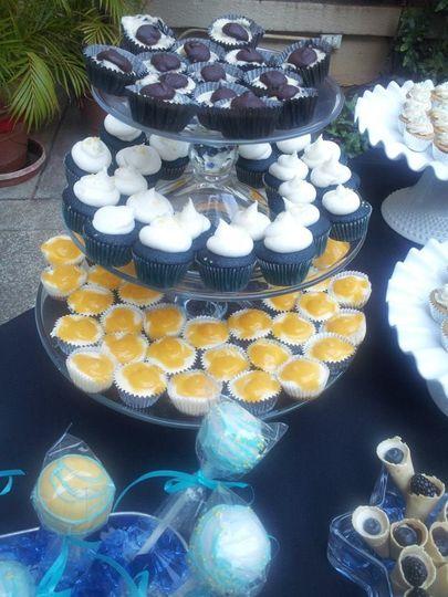 Mini Oreo Cheesecakes, Mini Blue Velvet Cupcakes & Mini Lilikoi (Passion Fruit) Cheesecakes